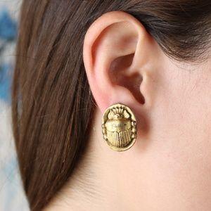 VINTAGE gold scarab earrings
